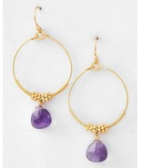 Beauty for Ashes Small Womens Gold Tone Amethyst Purple Stone Hoop Earrings - $5.97