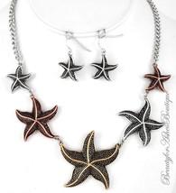Womens Metal Starfish Shell Ocean Beach Resort Rustic Tritone Necklace Set - $2.99