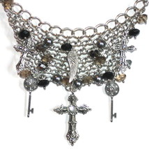 Womens Crystal Cross Bib Key Charm Mesh Necklace Chunky Chains Angel Wing Set - $29.97