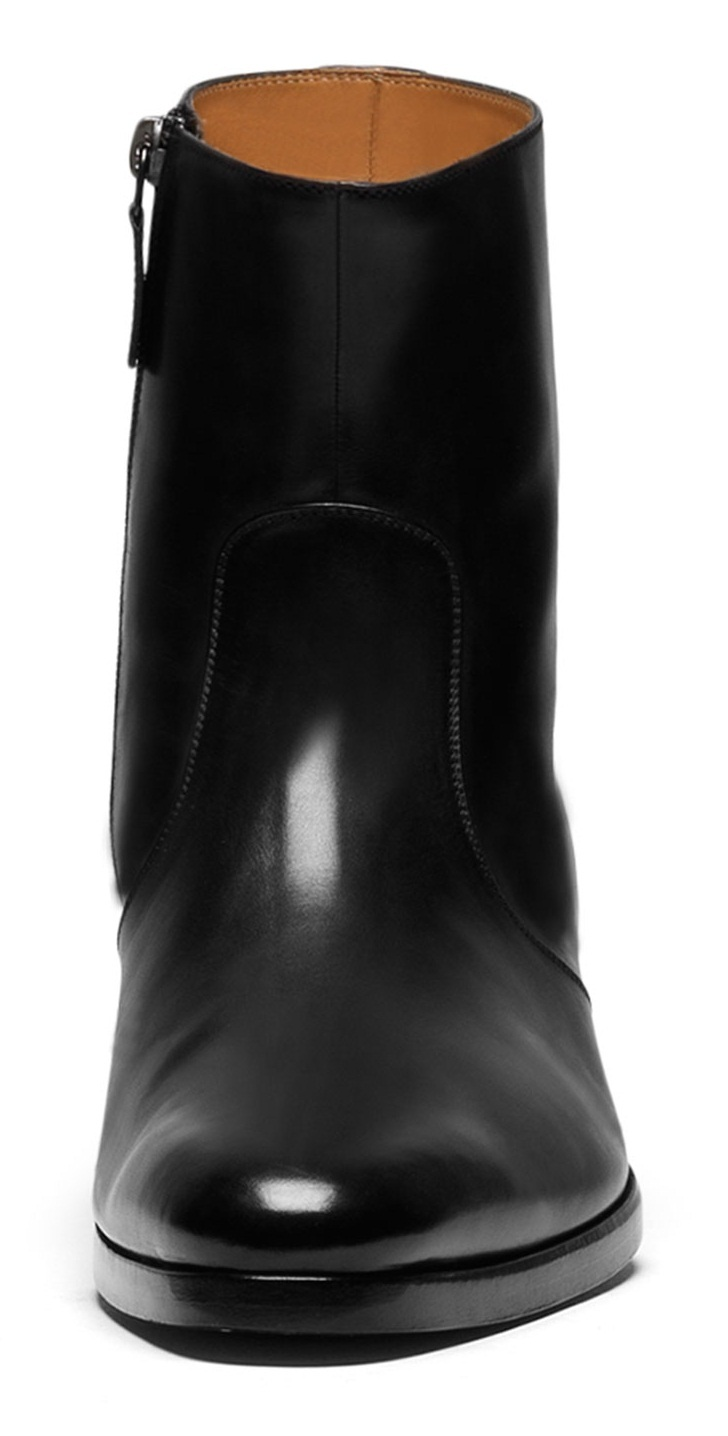 Handmade Men Side Zipper Ankle Leather Boots Mens Black