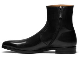 HANDMADE MEN SIDE ZIPPER ANKLE LEATHER BOOTS, MENS BLACK ZIPPER BOOTS - $199.99
