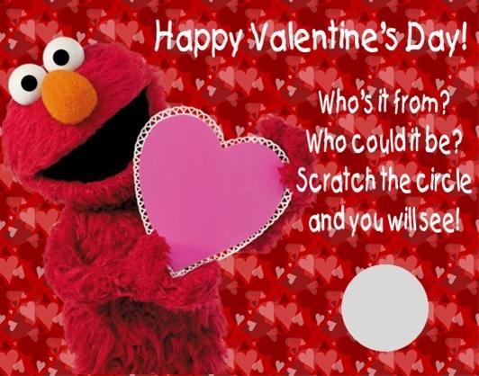 Sesame street elmo valentine 39 s day valentine scratch off for Elmo valentine coloring pages