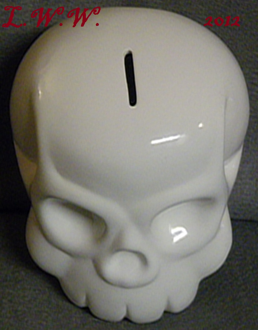 White Skull Large Ceramic Coin Bank Gothic Punk Morbid Piggy Bank