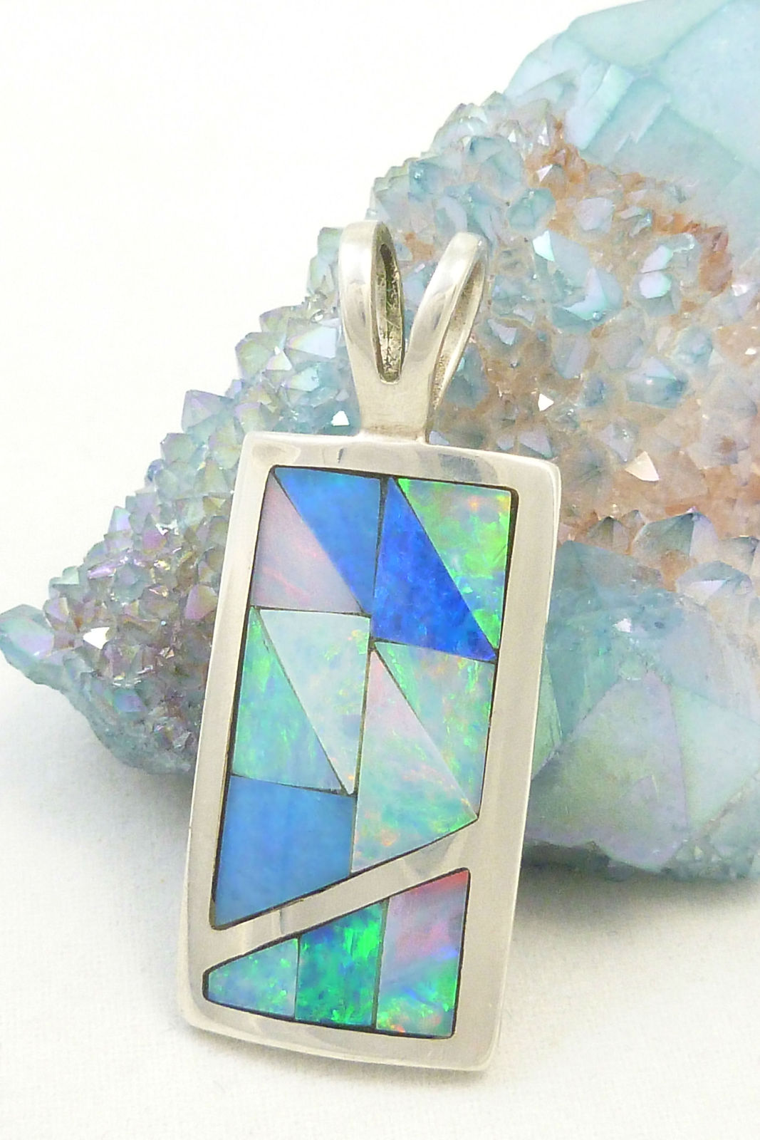 Primary image for Sterling Silver Opal Gemstone Inlay Pendant Mosaic Blue Green Jay King
