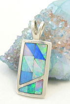 Sterling Silver Opal Gemstone Inlay Pendant Mosaic Blue Green Jay King - $69.00