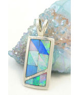 Sterling Silver Opal Gemstone Inlay Pendant Mosaic Blue Green Jay King - $59.00