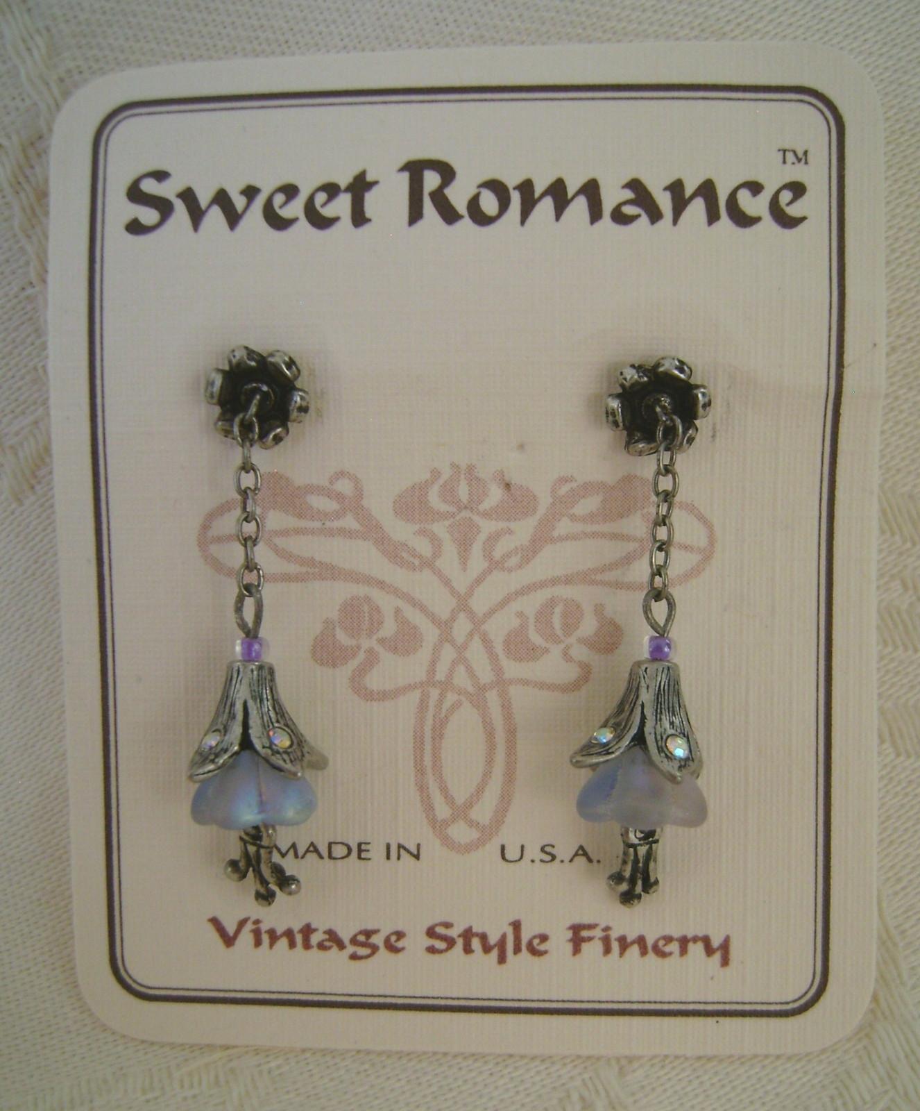 Earrings, Sweet Romance, Satin Glass Lavender Lillies, Post