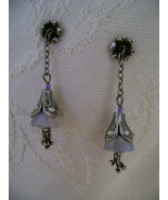 Earrings, Sweet Romance, Satin Glass Lavender Lillies, Post - $20.00