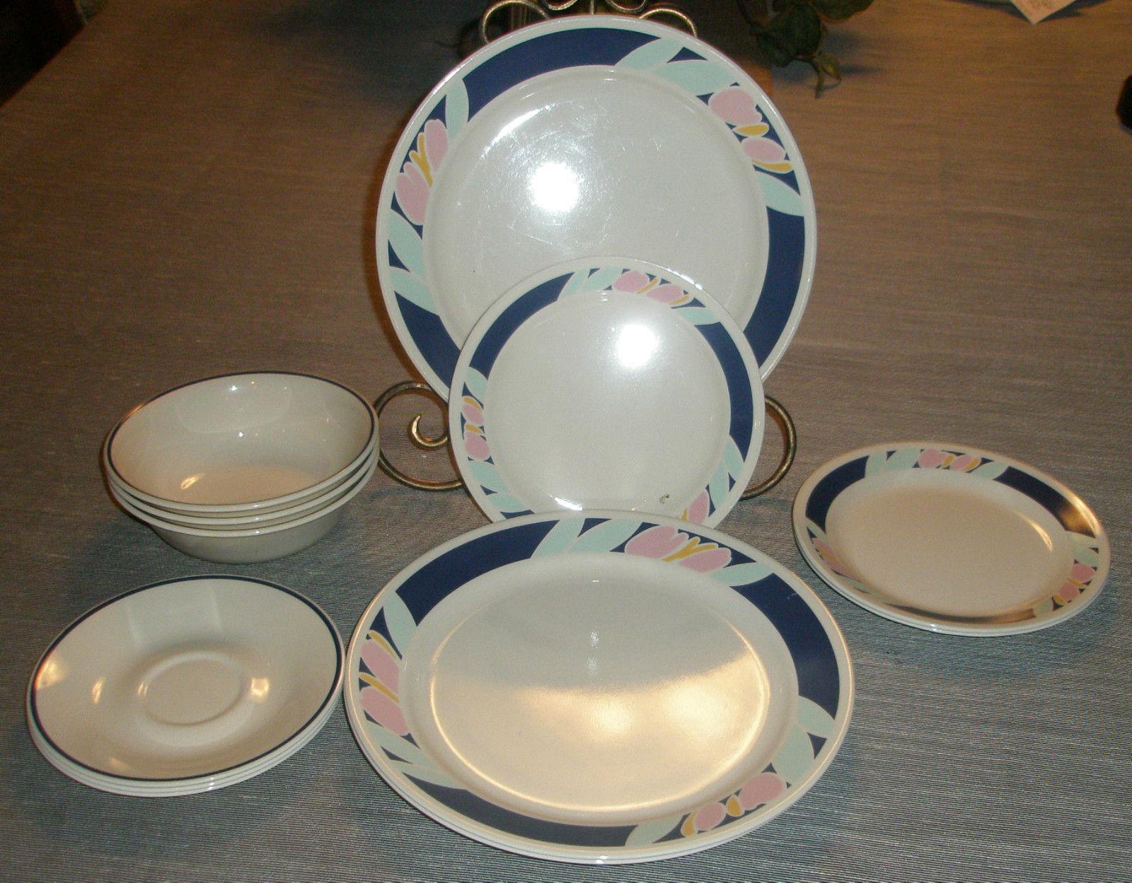 12pcs Corelle TULIP ACCENTS Dinnerware Plates u0026 Bowls & 12pcs Corelle Tulip Accents Dinnerware and 12 similar items