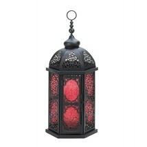 Tall Moroccan Style Candle Lantern - Red glass - $29.00