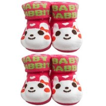 RED Rabbit Cotton Baby Newborn Shocks Infant Anti Skid Slip Toddler Shoes 2 Pack