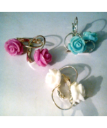 Three Pairs Of Dainty Resin Rose Earrings  - $10.99