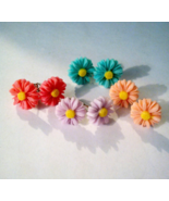 Four Pairs Of Dainty Resin Daisy Earrings  - $10.99