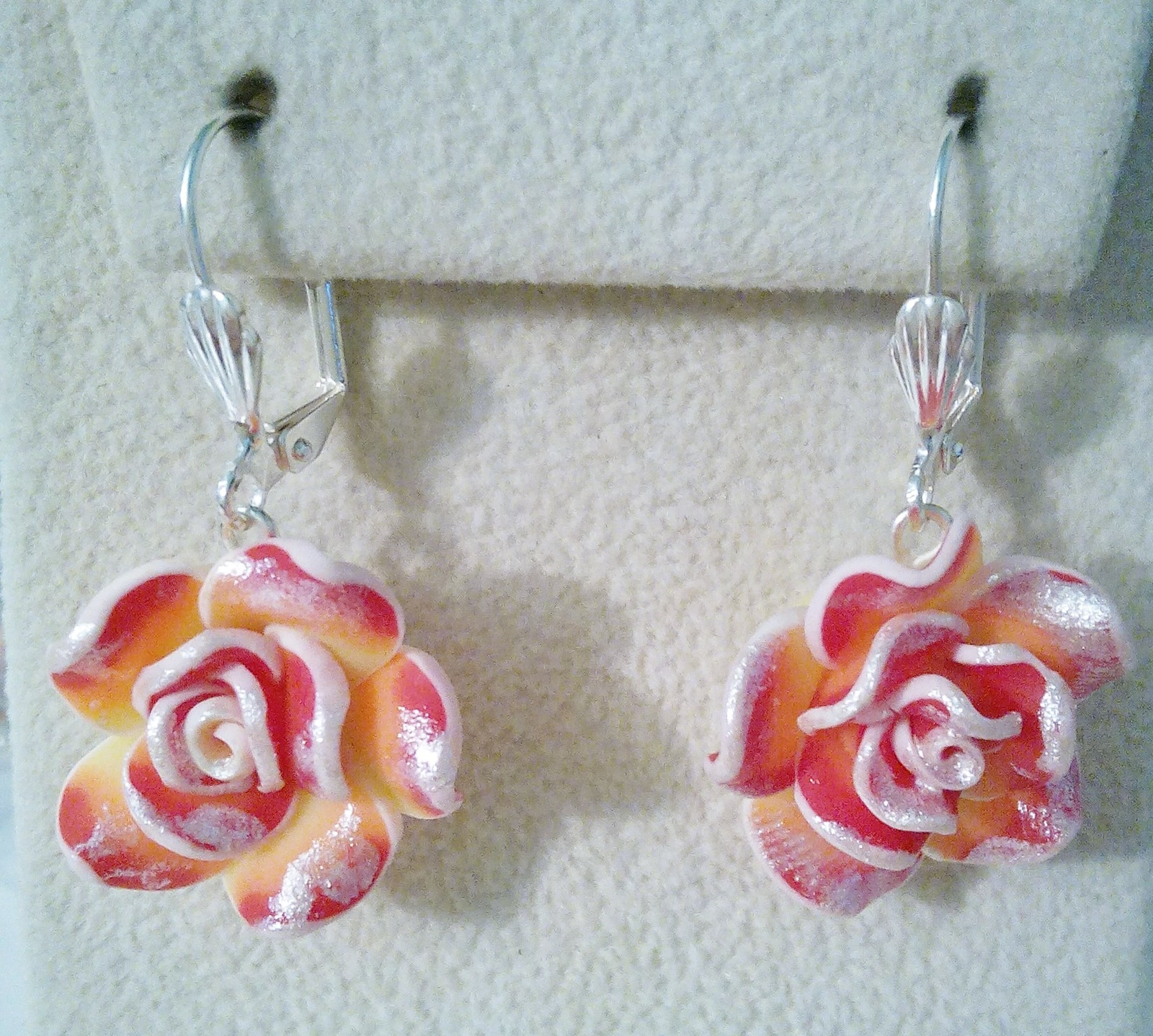 Pink And Silver Rose Drop Earrings