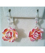 Pink And Silver Rose Drop Earrings - $10.99