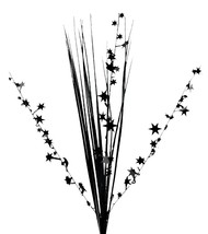 "12 BLACK stems 21"" onion grass spray metallic pick with stars - $14.95"