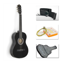 "38"" Black Acoustic Guitar Starter Package (Guitar, Gig Bag, Strap, Pick) - $89.99"