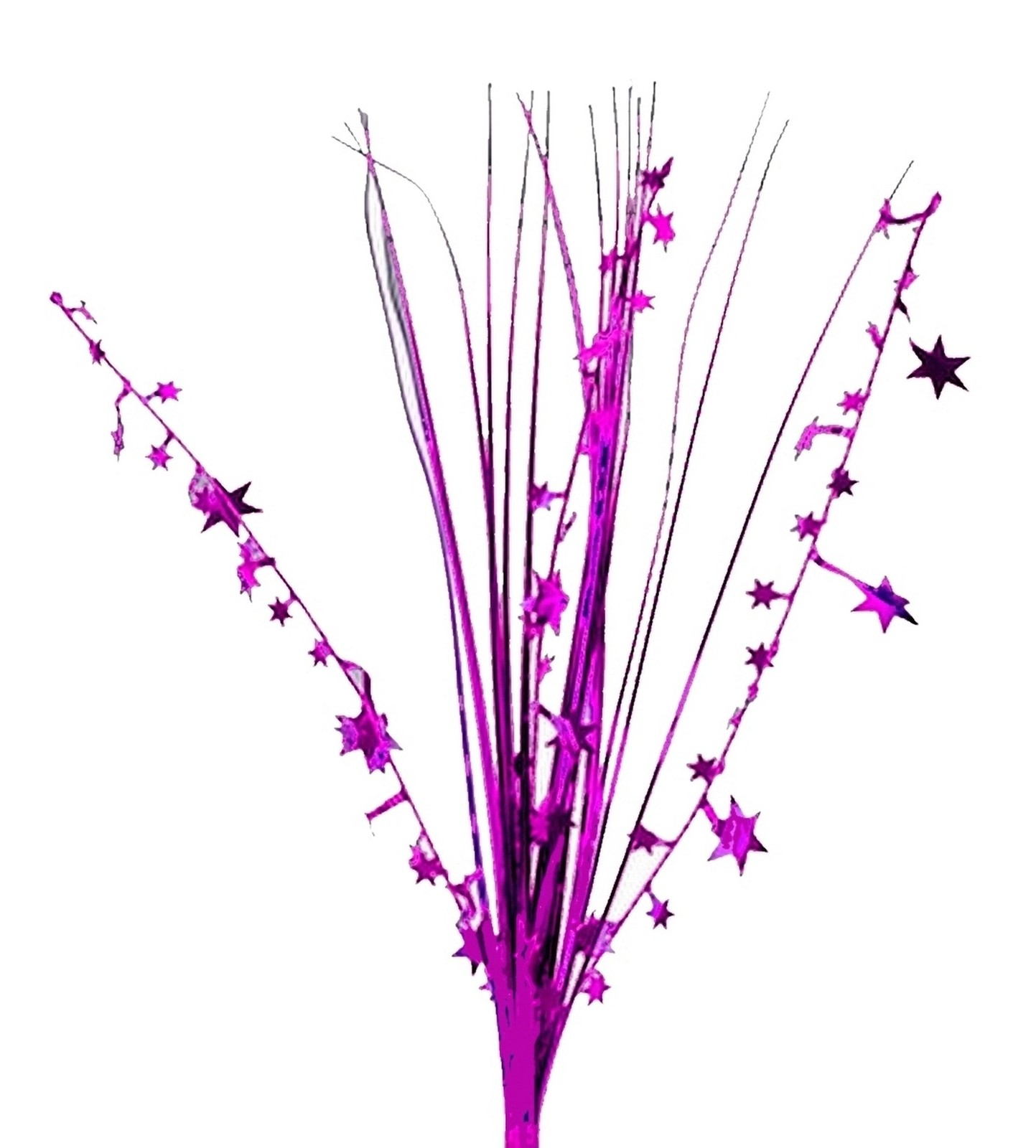 "12 HOT PINK/MAGENTA stems 21"" onion grass spray metallic pick with stars"