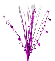 "12 HOT PINK/MAGENTA stems 21"" onion grass spray metallic pick with stars - $14.95"