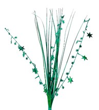 "12 HUNTER GREEN stems 21"" onion grass spray metallic pick with stars - $14.95"