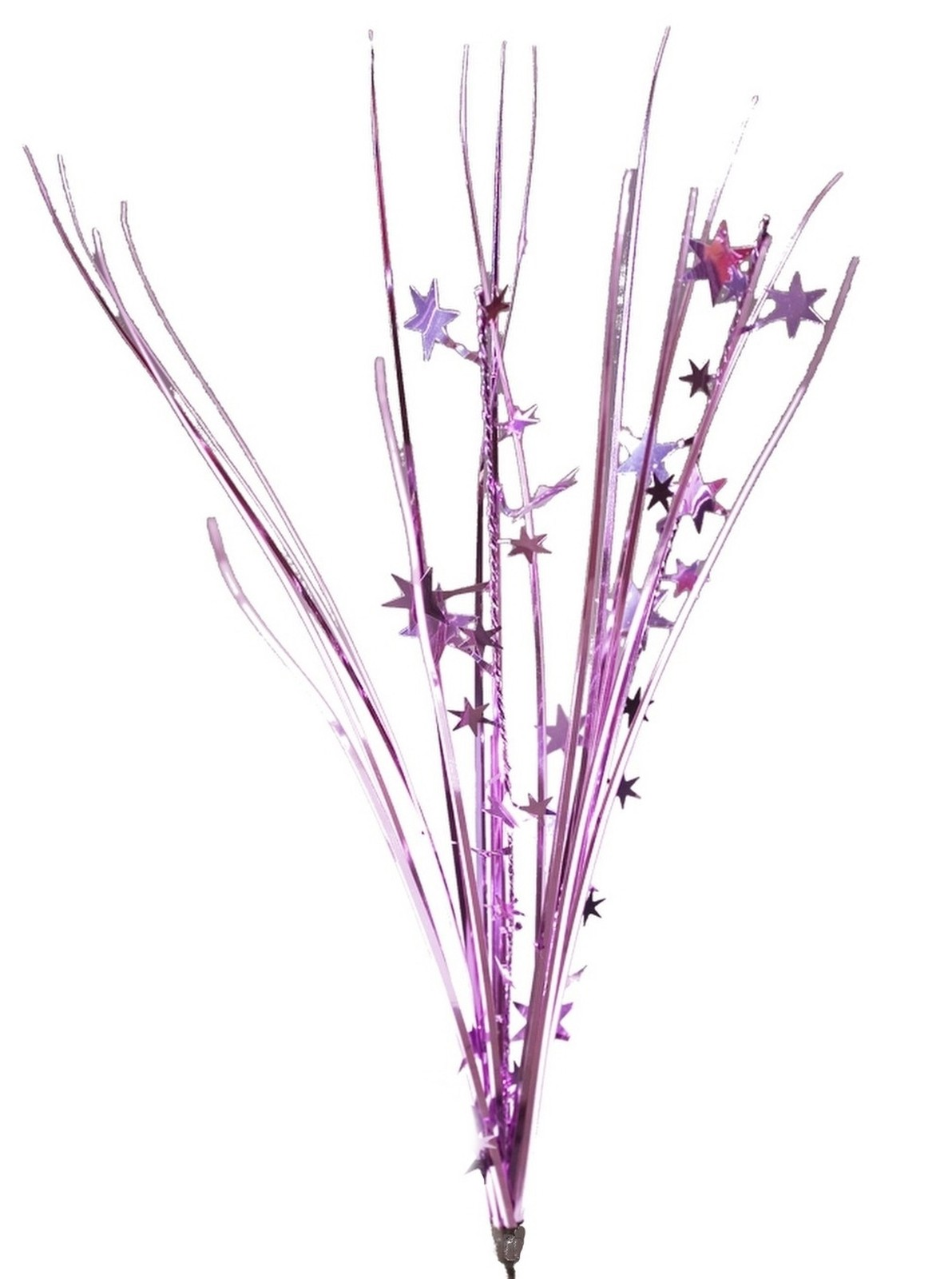 "12 PINK stems 21"" onion grass spray metallic pick with stars"