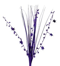 "12 PURPLE stems 21"" onion grass spray metallic pick with stars - $14.95"