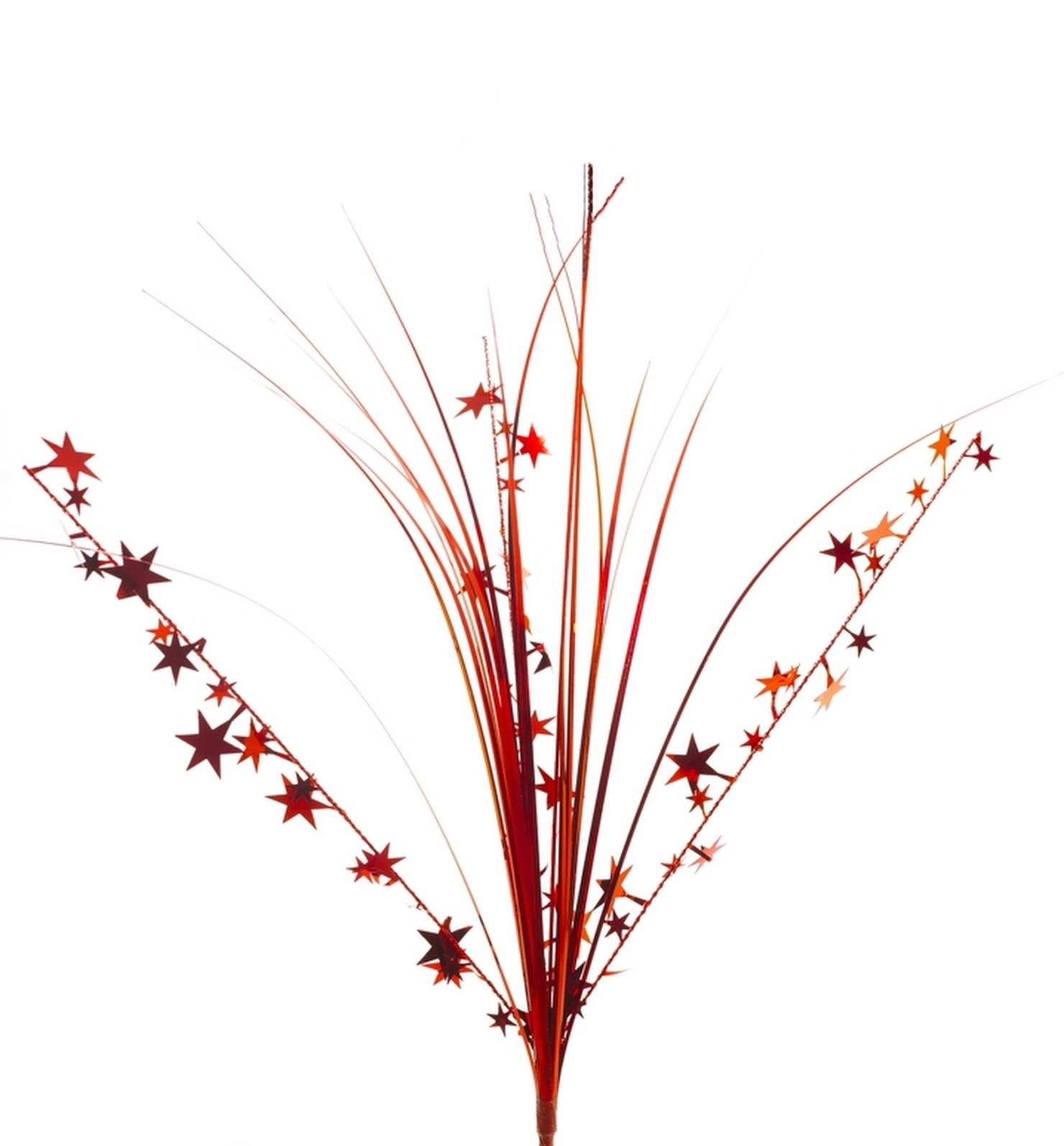 "12 RED stems 21"" onion grass spray metallic pick with stars"
