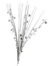"12 SILVER stems 21"" onion grass spray metallic pick with stars - $14.95"