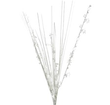 "12 WHITE stems 21"" onion grass spray metallic pick with stars - $14.95"