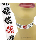 Red Glitter + Black HEARTS Choker 7/8 inch 23 mm wide Satin Custom Size ... - $5.25+