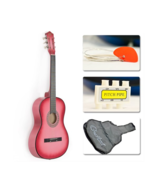 """38"""" Pink Beginners Acoustic Guitar With Guitar Case, Strap, Tuner - $79.99"""