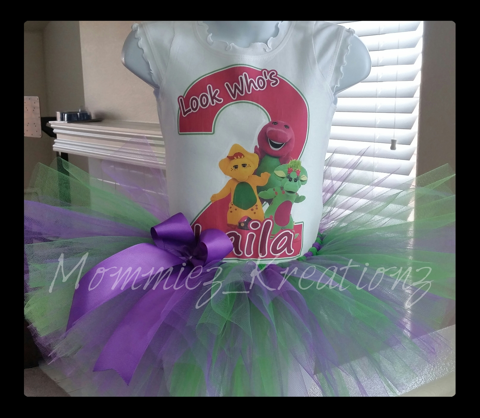 Barney birthday outfit, Baby bop tutu set, Barney and Friends Tutu Set