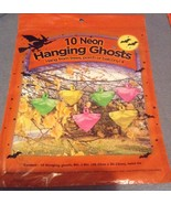 10 Halloween Plastic Bag Hanging Neon Ghosts Figures NIP - $3.99