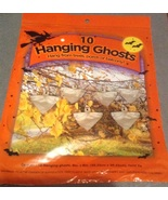 10 Halloween Plastic Bag Hanging White Ghosts Figures NIP - $3.99
