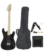 Full Size Black Electric Guitar with Amp, Case and Accessories Pack Beg... - $171.99