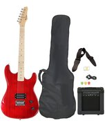 Full Size Red Electric Guitar with Amp, Case and Accessories Pack Beginn... - $176.99
