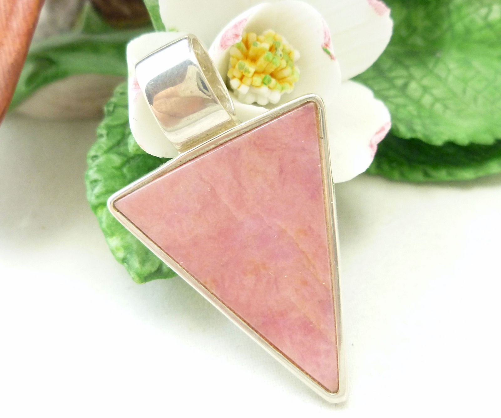 Pink Rhodonite Sterling Arrow Head Pendant Reversible with Flower Decorations