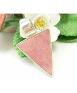 Pink Rhodonite Sterling Arrow Head Pendant Reversible with Flower Decora... - $45.00