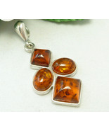 Silver Amber Colored Pendant Honey Brown - $35.00