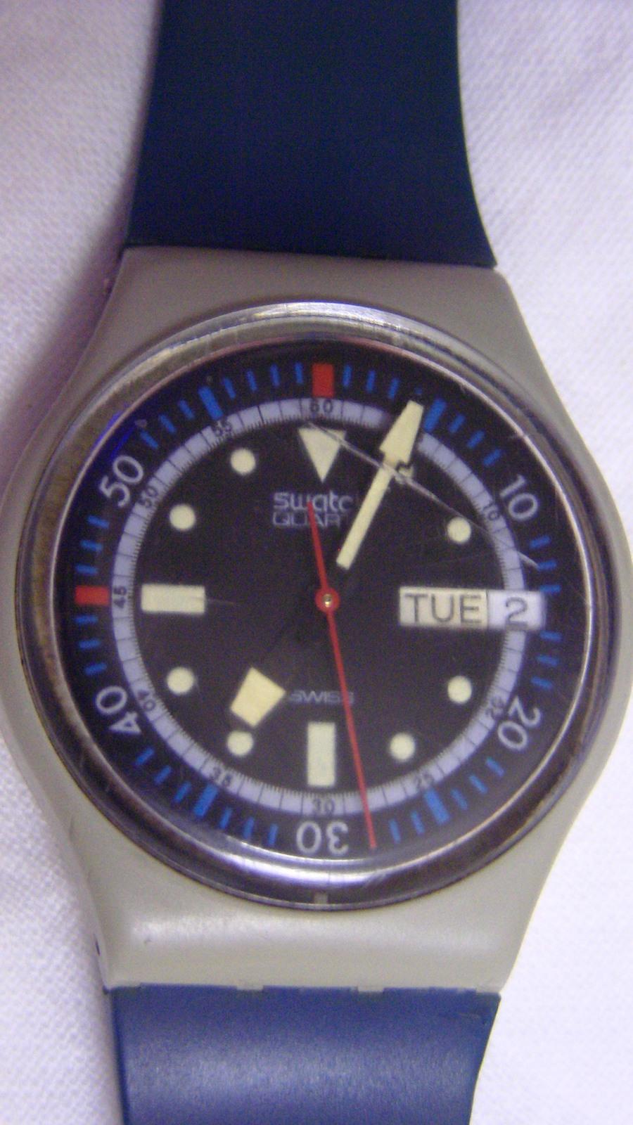 Vintage men women swatch calypso diver gm 701 plastic - Swatch dive watch ...