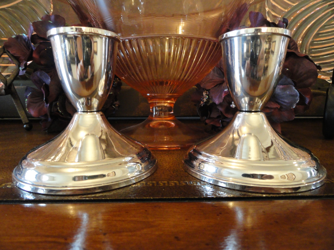 Crosby Sterling Silver Weighted Candle Holders Set of 2