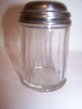 Vintage Cheese Coconut Shaker Glass Metal Lid D... - $9.74