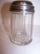 Vintage Cheese Coconut Shaker Glass Metal Lid Dinnerware Serving Food Co... - $9.74