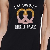 Sweet And Salty BFF Matching Black Muscle Tops image 2