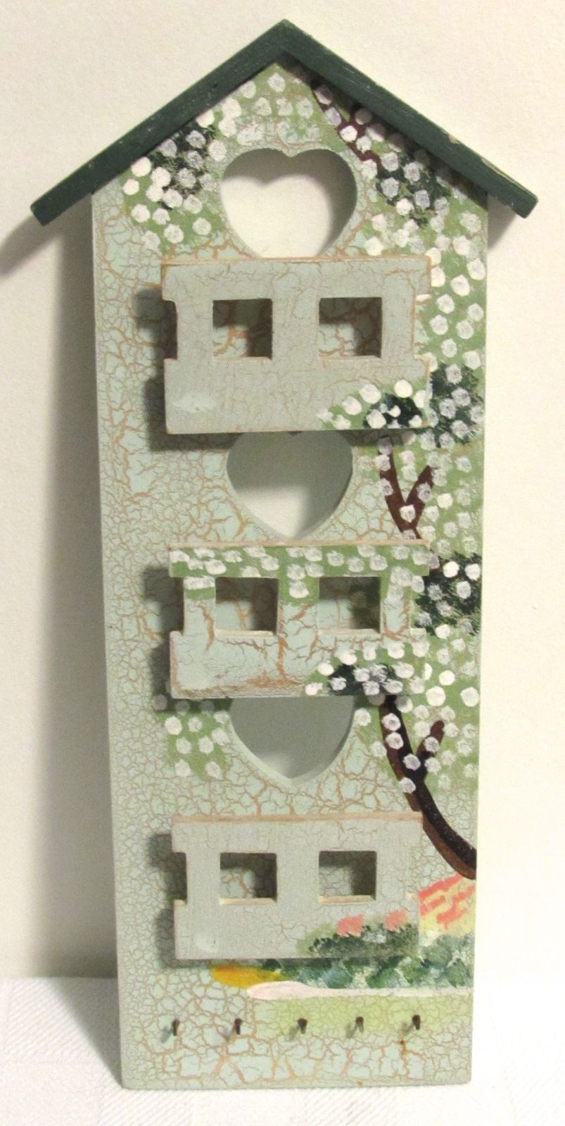 Wooden 3 Slot Letter Sorter & Key Organizer Multi-Color Birdhouse Design