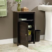 Floor Cabinet Cherry Bathroom Space Saver Linens Storage Shelf Doors Gra... - $70.99