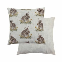 """2 X EVANS LICHFIELD WOODLAND HARE RABBIT REPEAT 17"""" 43CM CUSHION COVERS - £22.57 GBP"""