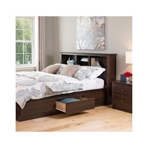 full queen size wood bookcase headboard storage shelves. Black Bedroom Furniture Sets. Home Design Ideas