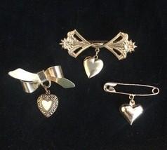 Vintage Hanging Heart Pin 3 Lillian Vernon Locket Goldtone Brooches Vale... - $19.34