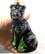 Blown Glass Panther Christmas Ornament Poland C... - $24.99